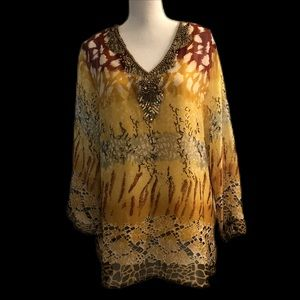 Safari textile sheer top with sequins w/camisole
